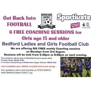 Join England's Siobhan Chamberlin at Bedford Ladies FC Sportivate Project!