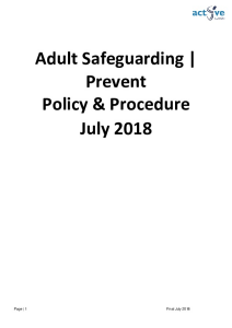 SAFEGUARDING POLICY ADULTS at Risk JULY 2018