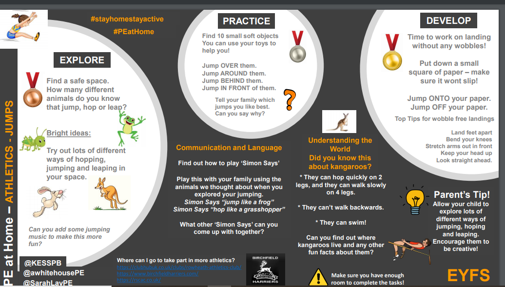 Athletics activities, focussing on jumping from EYFS to KS4