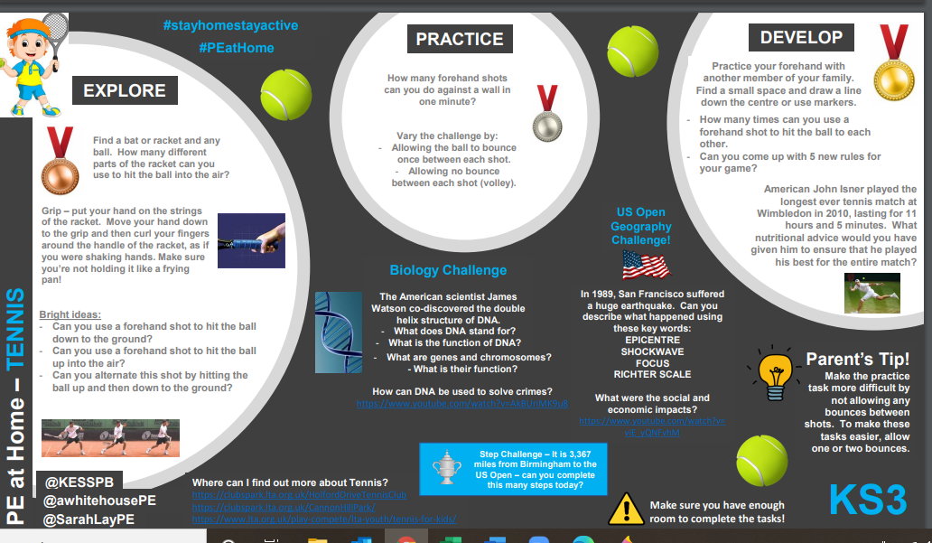 Tennis activities for home and school for pupils EYFS to KS4