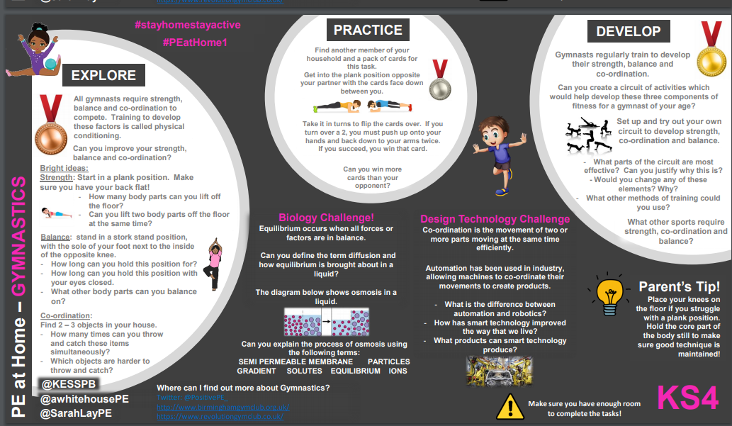 Gymnastics skills for pupils EYFS to KS4 along with some fun cross curricular activities too