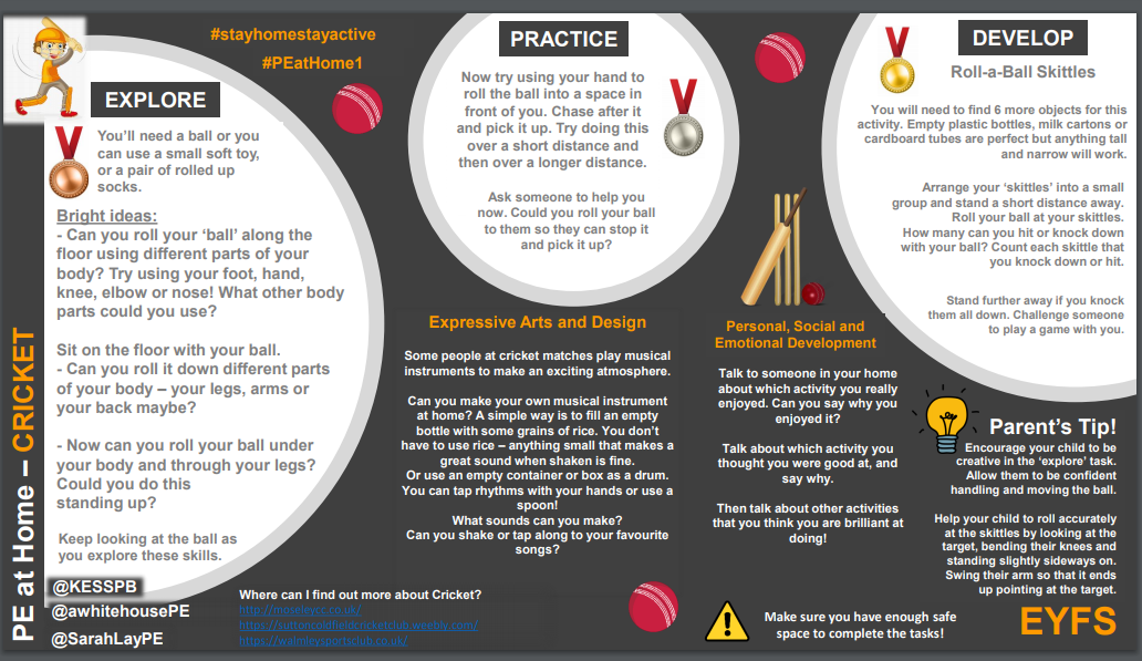 EYFS to KS4 Cricket skills and activities