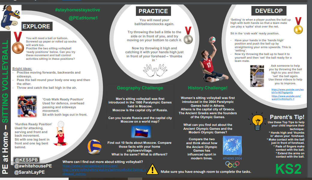 The history of sitting volleyball along with activity cards for pupils EYFS to KS4